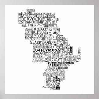 Black Typographical Map of Co. Antrim, Ireland Poster