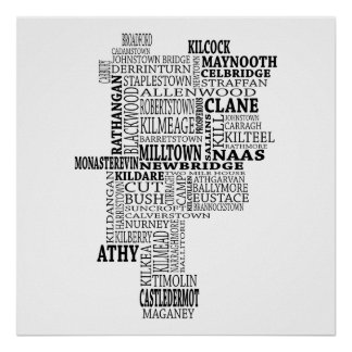 Black Typographical Map of Co. Kildare, Ireland Poster