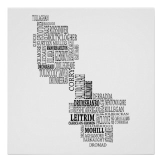 Black Typographical Map of Co. Leitrim, Ireland Poster