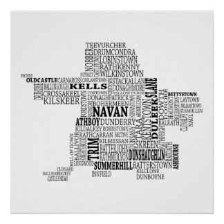 Black Typographical Map of Co. Meath, Ireland Poster