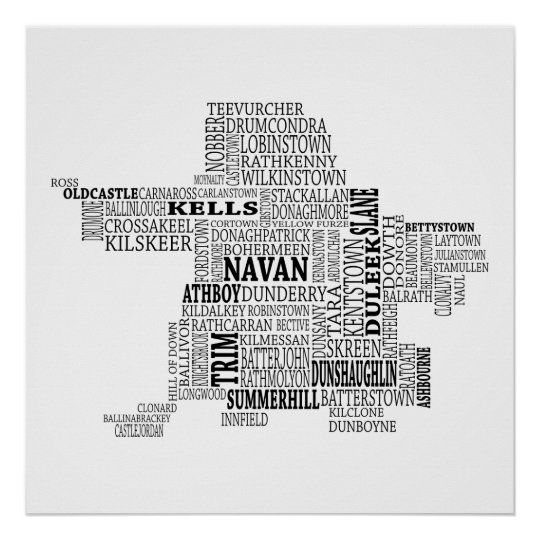 Map Of Co Meath Ireland.Black Typographical Map Of Co Meath Ireland Poster Zazzle Co Uk