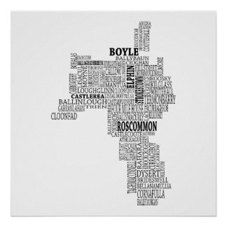 Black Typographical Map of Co. Roscommon, Ireland Poster