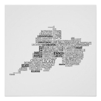 Black Typographical Map of County Clare, Ireland Poster