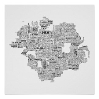 Black Typographical Map of Ulster, Ireland Poster