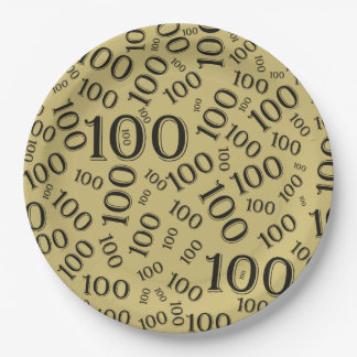 Black Typography Any 100th Event Party/Celebration 9 Inch Paper Plate