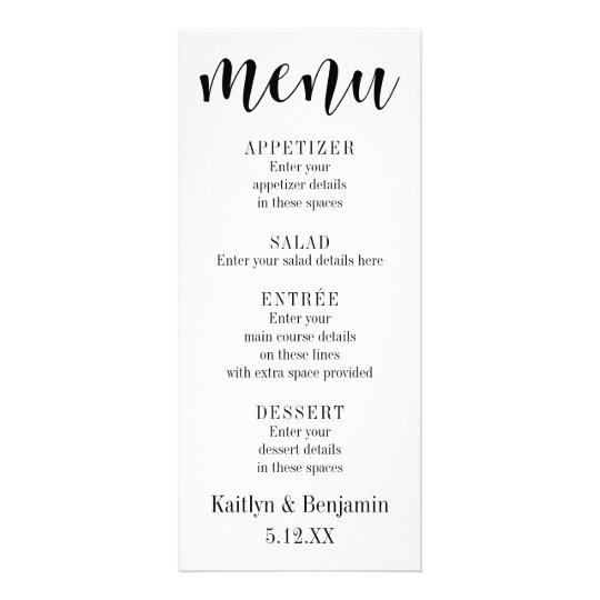 Black Typography Wedding Menu with Bokeh Back
