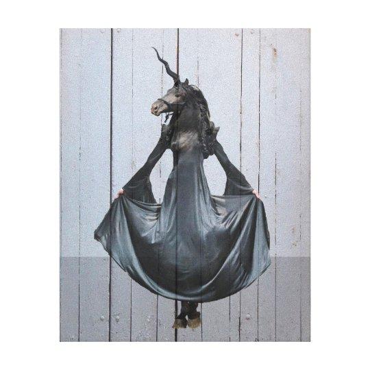 Black unicorn canvas print