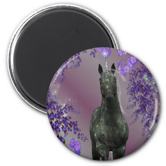 Black Unicorn Flowers Fantasy Magnet