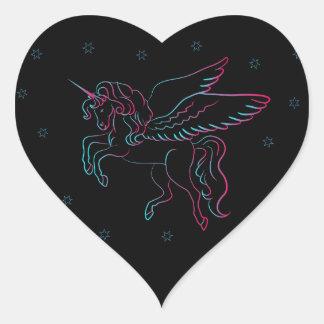 Black Unicorn Heart Sticker