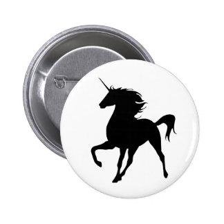 Black Unicorn Silhouette Button