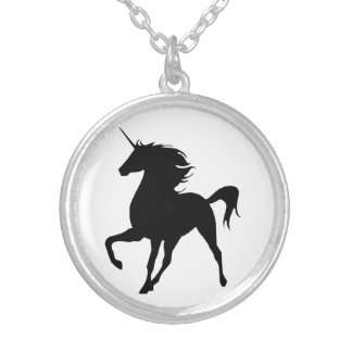 Black Unicorn Silhouette Necklace