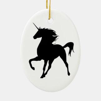 Black Unicorn Silhouette Oval Ornament