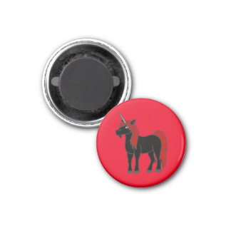Black Unicorn with Red Mane 3 Cm Round Magnet