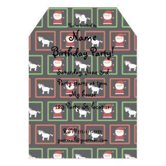 "Black unicorns santa claus pattern 5"" x 7"" invitation card"