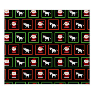 Black unicorns santa claus pattern print