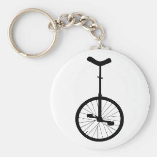 Black Unicycle Basic Round Button Key Ring