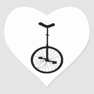 Black Unicycle Heart Stickers