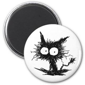 Black Unkempt Kitten 6 Cm Round Magnet
