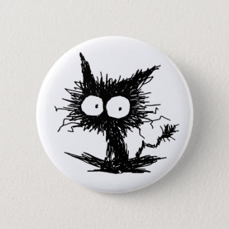 Black Unkempt Kitten GabiGabi 6 Cm Round Badge