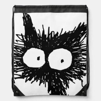 Black Unkempt Kitten GabiGabi Drawstring Bags