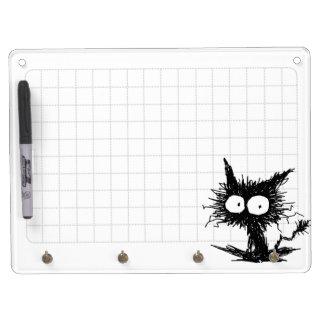 Black Unkempt Kitten GabiGabi Grid White Dry Erase Board With Key Ring Holder