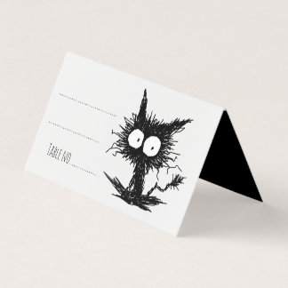 Black Unkempt Kitten GabiGabi Place Card
