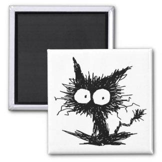 Black Unkempt Kitten GabiGabi Square Magnet
