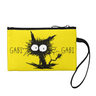 Black Unkempt Kitten GabiGabi Yellow Coin Purse