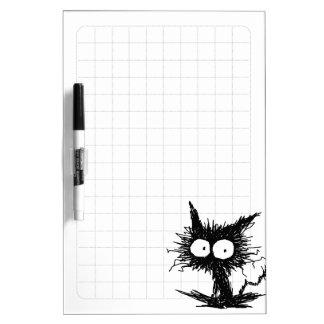Black Unkempt Kitten Grid Dry-Erase Whiteboards