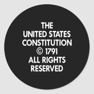 Black Us Constitution Reserved Classic Round Sticker