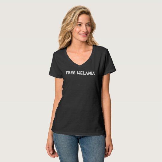 Black v-neck Free Melania tee for women