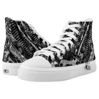 Black V-Twin Abstract High Top Printed Shoes
