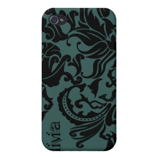 Black Vector Damask- change teal to any color Case For iPhone 4