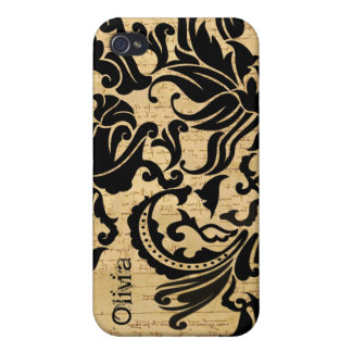 Black Vector Damask Parchment iPhone Cover iPhone 4/4S Cover
