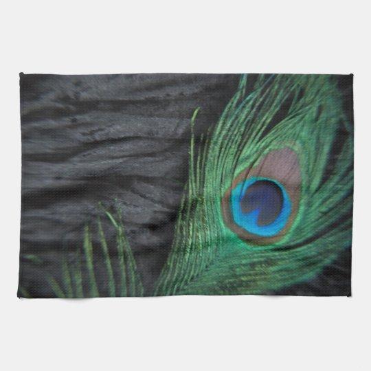 Black Velvet Peacock Feather Still Life Tea Towel