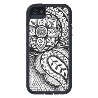 Black Velvet White Damask Dreamcatcher Mandala Art iPhone 5 Case