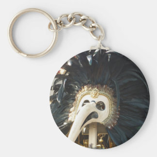 Black Venetian Mask Tee Basic Round Button Key Ring