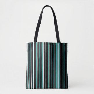 Black, Verdigris Blue Green, White Barcode Stripe Tote Bag