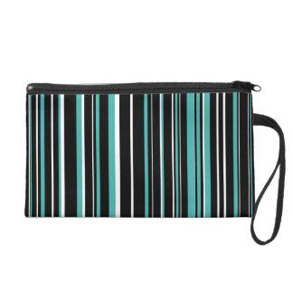 Black, Verdigris Green Blue, White Barcode Stripe Wristlet Purses