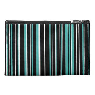 Black, Verdigris Green Blue, White Barcode Stripe Travel Accessories Bags