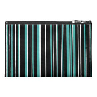 Black, Verdigris Green Blue, White Barcode Stripe Travel Accessories Bags