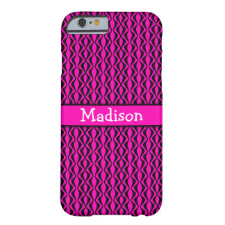 Black Vertical Retro Waves Over Neon Hot Pink Barely There iPhone 6 Case