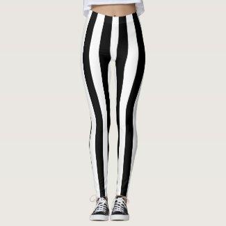 Black Vertical Stripes Leggings