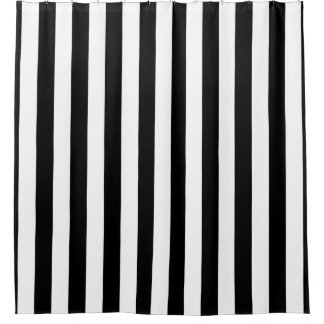 Black Vertical Stripes Shower Curtain