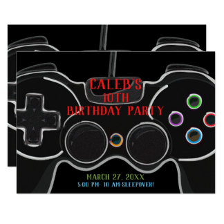 Black Video Game Controller Birthday Party Card