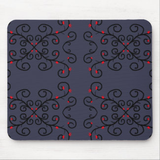 Black Vines & Red Flowers Mouse Pad