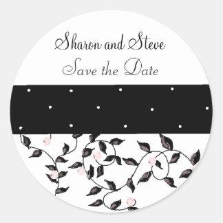 Black Vines Save the Date Round Sticker
