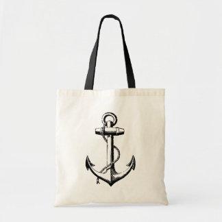Black Vintage Anchor Illustration Tote Bag