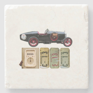 Black Vintage Car Stone Coaster