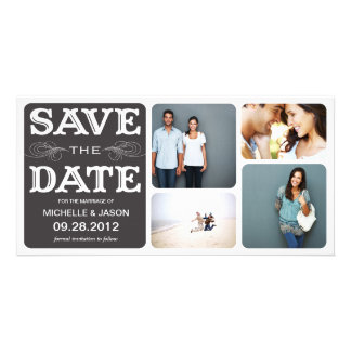 BLACK VINTAGE COLLAGE | SAVE THE DATE ANNOUNCEMENT CUSTOMIZED PHOTO CARD